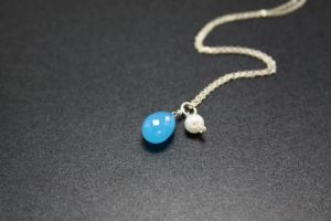 Handcrafted Blue Chalcedony Gemstone Necklace