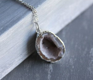 half geode necklace