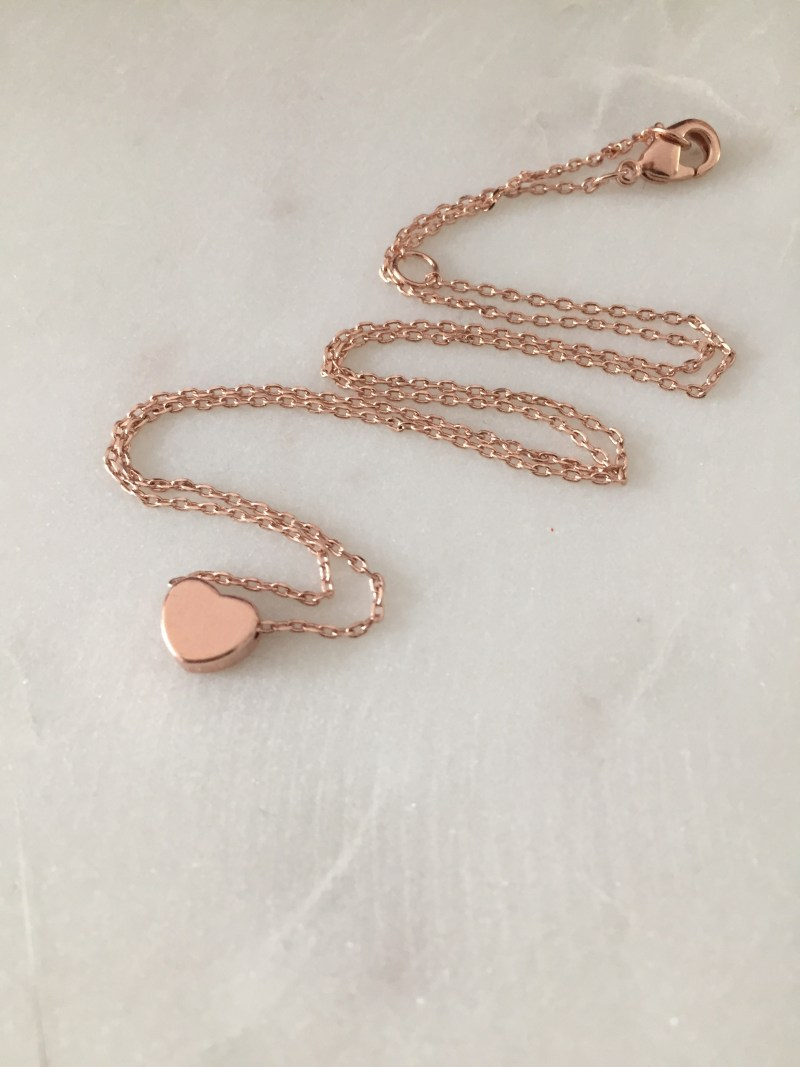 handmade rose gold heart necklace