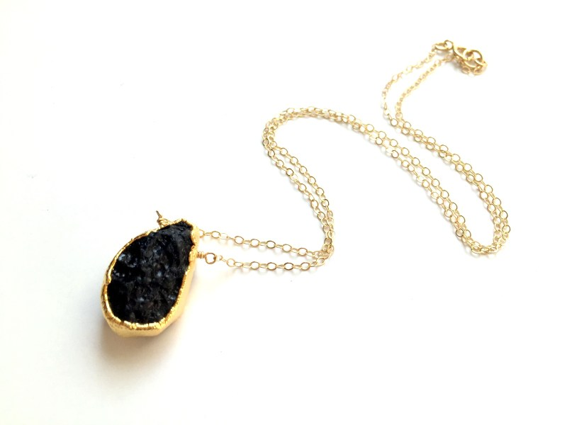 gold plated lava bead necklace