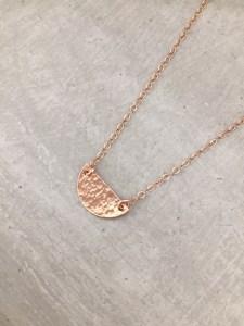 handmade rose gold half circle necklace