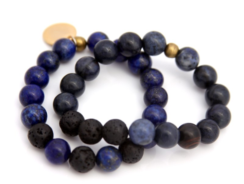 blue gemstone bracelet set