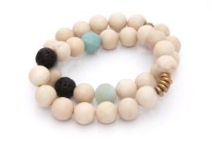 fossil jasper gemstone bracelet set