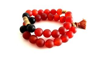 matte carnelian gemstone bracelet set