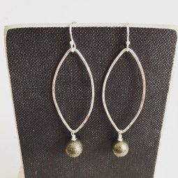 pyrite silver earrings