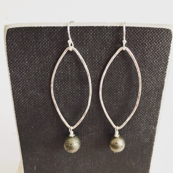 pyrite silver earrings