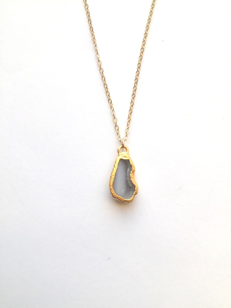 small druzy gold necklace - handmade