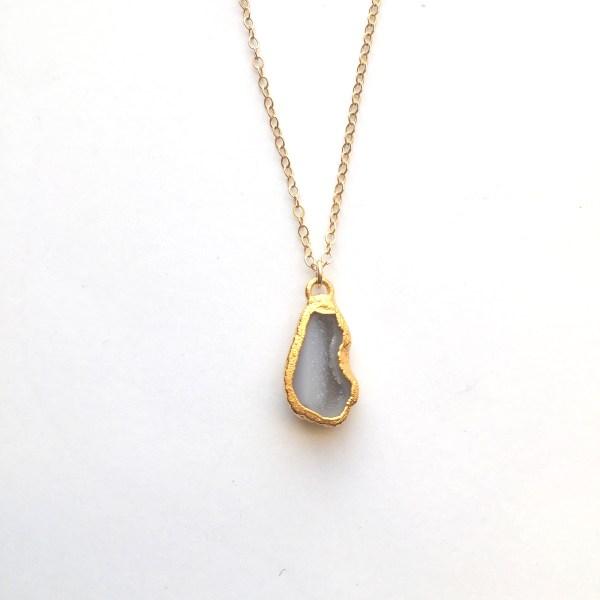 small druzy gold necklace - handmade