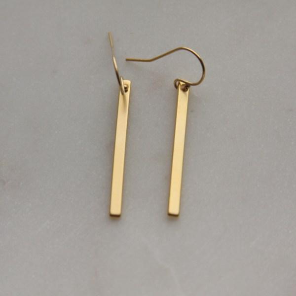 modern gold stick earrings