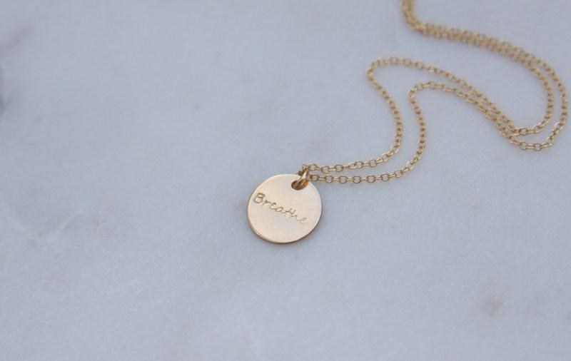 handstamped gold necklace - breathe