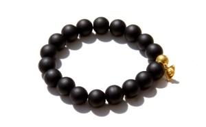 black onyx bracelet with an evil eye charm