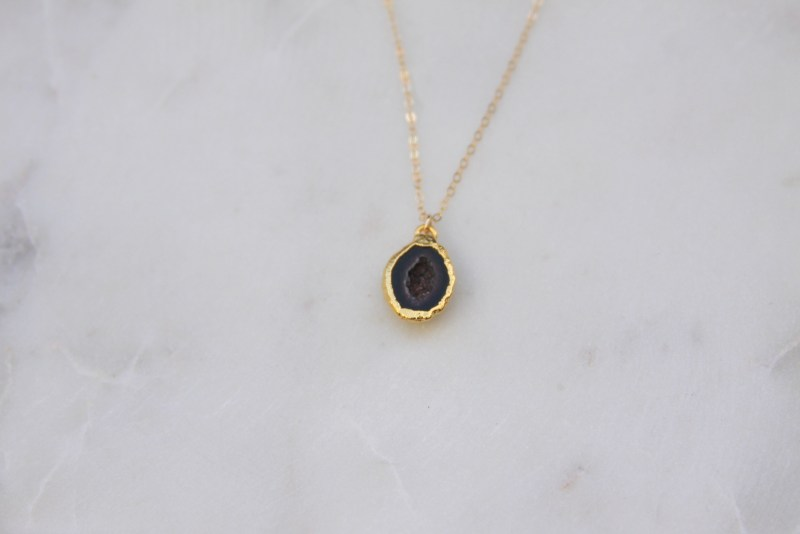 black stone necklace - gold