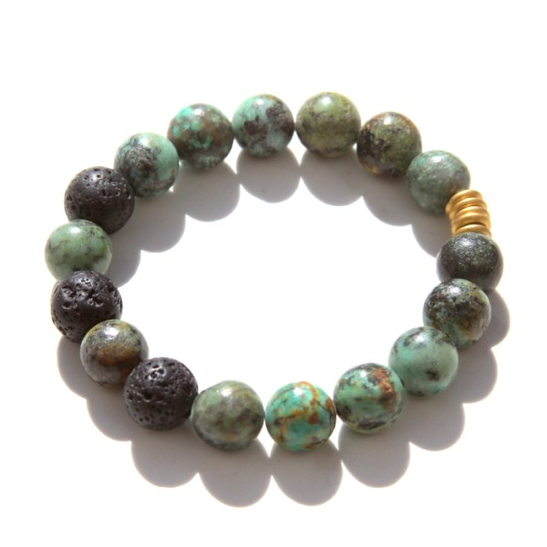 African turquoise beaded bracelet - lava beads