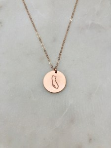 hand stamped california necklace