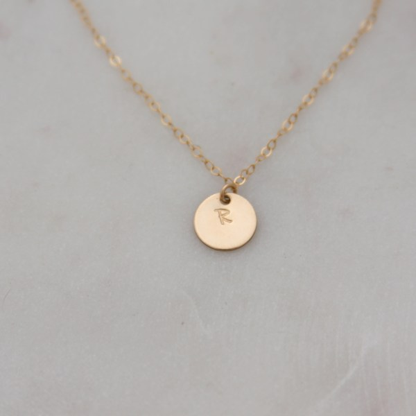 hand stamped gold initial necklace