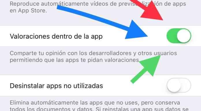 Deshabilitar valoraciones en las App