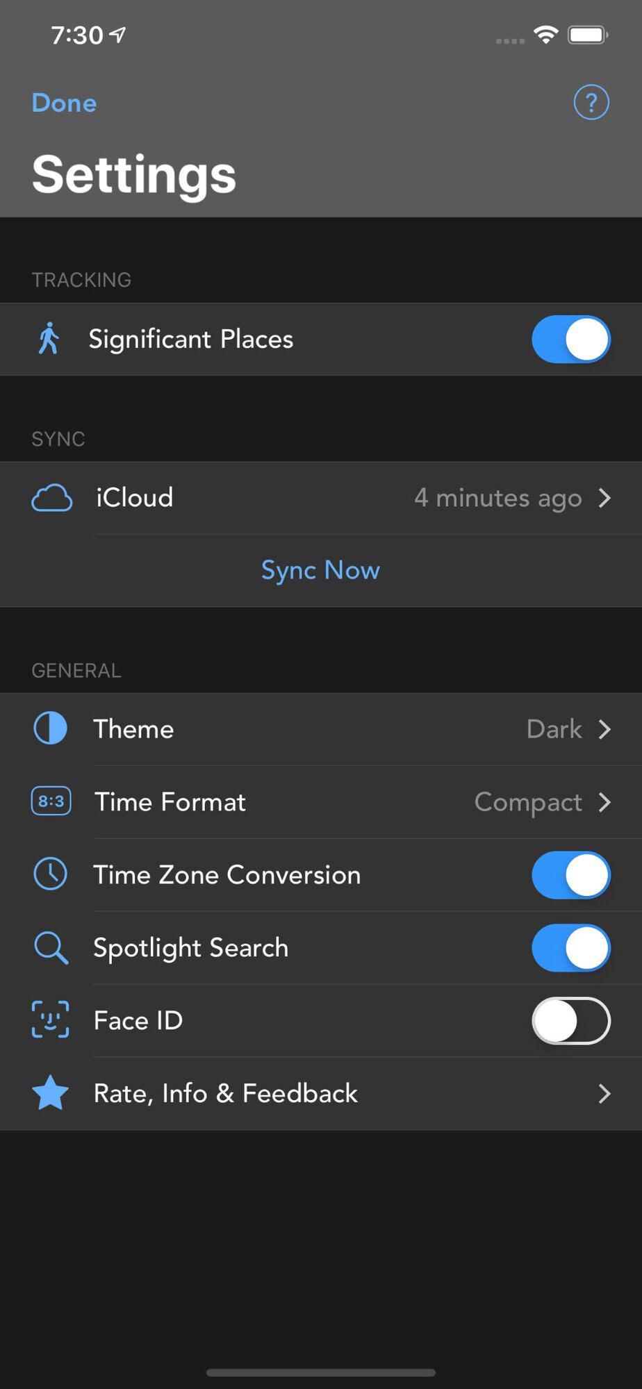 Visión de ajustes en la App Geofency