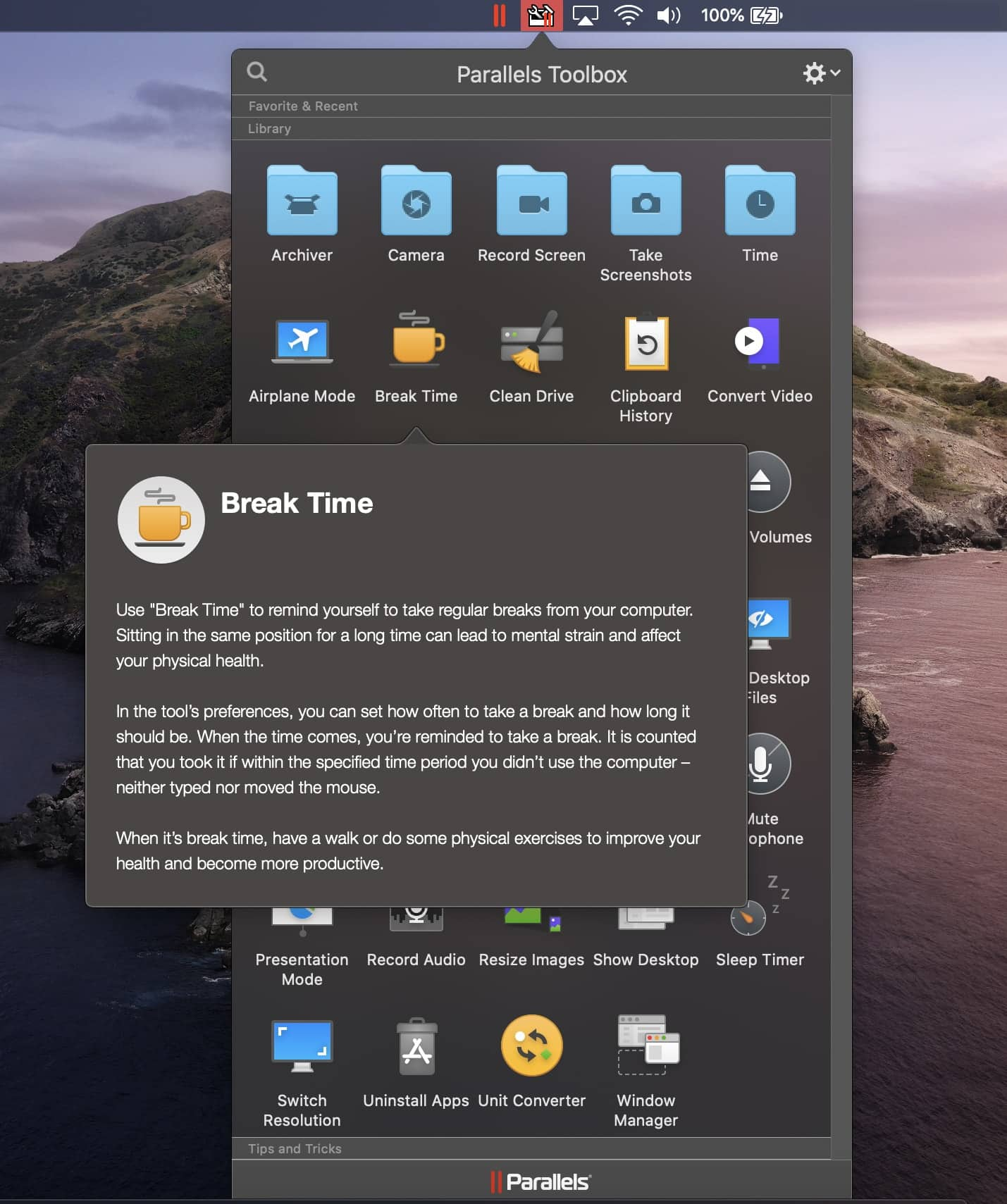 Parallels Toolbox Break Time macOS Screenshot