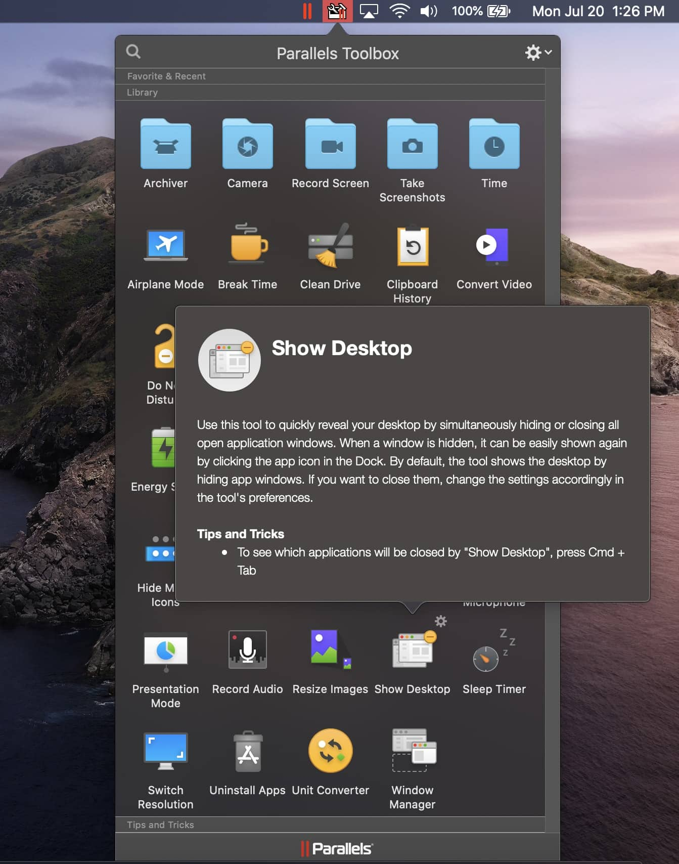 Parallels Toolbox Show Desktop macOS Screenshot
