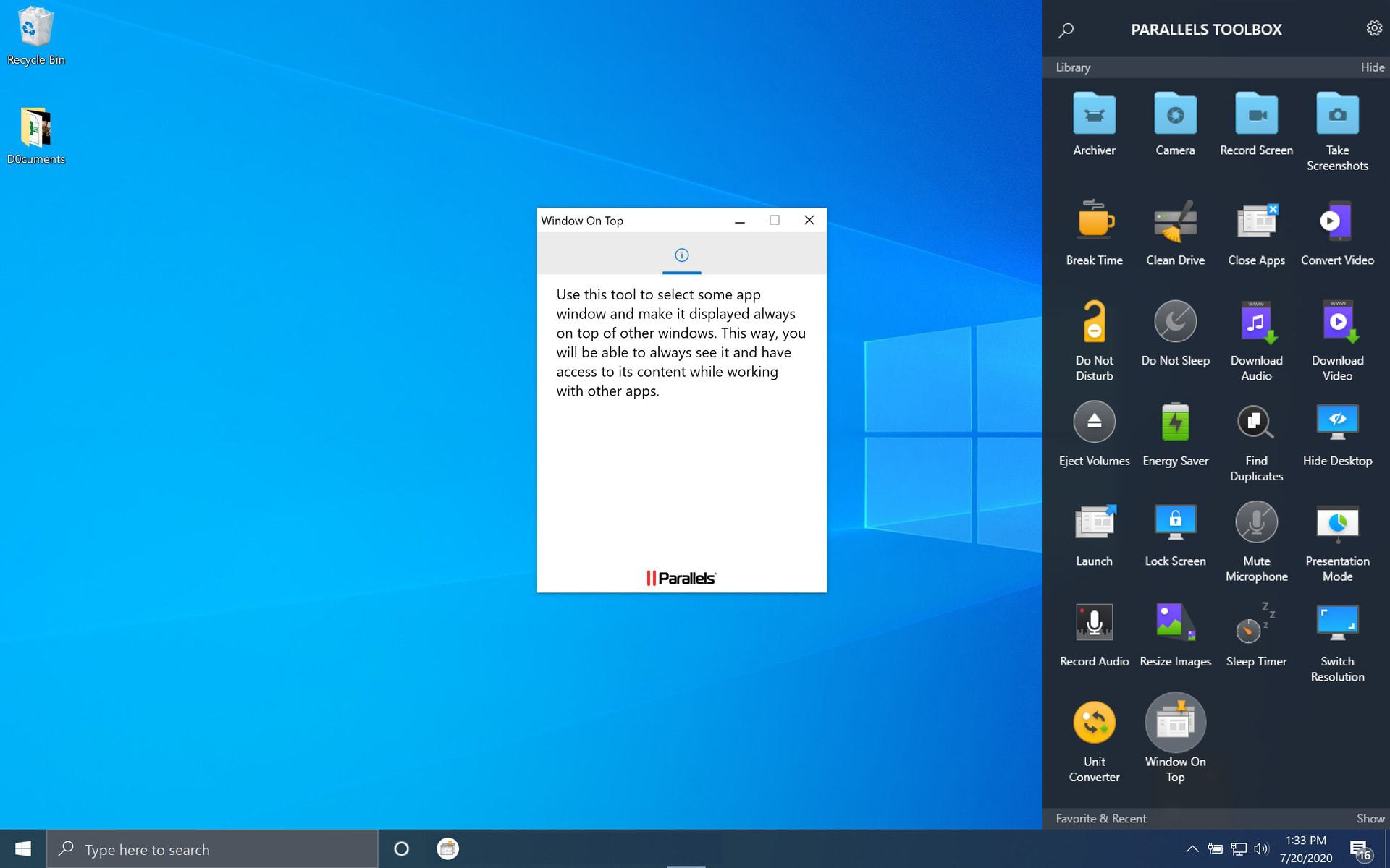 Parallels Toolbox Window on Top Windows 10 Screenshot
