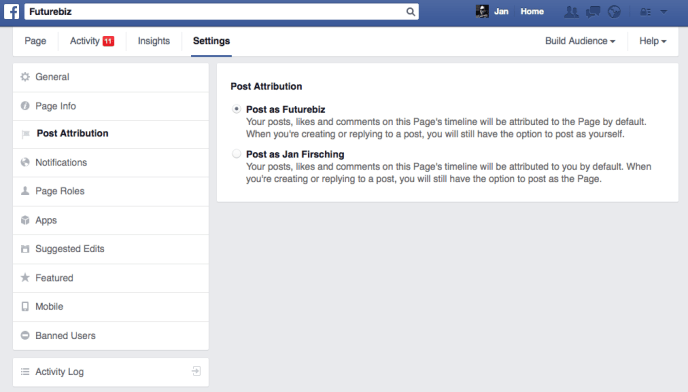 Facebook Beitragsattribution - Seiteneinstellungen