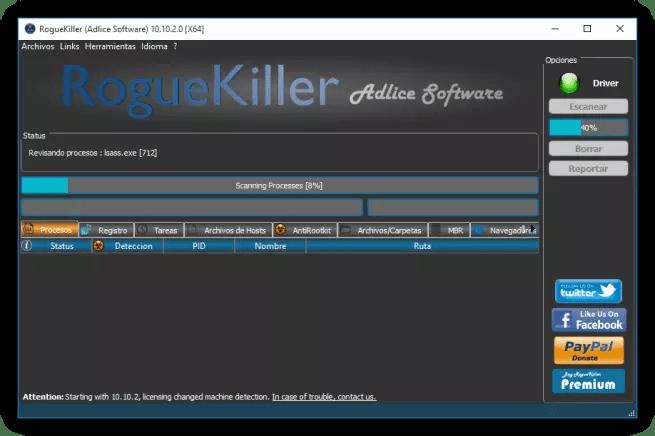 Analizando el sistema con RogueKiller