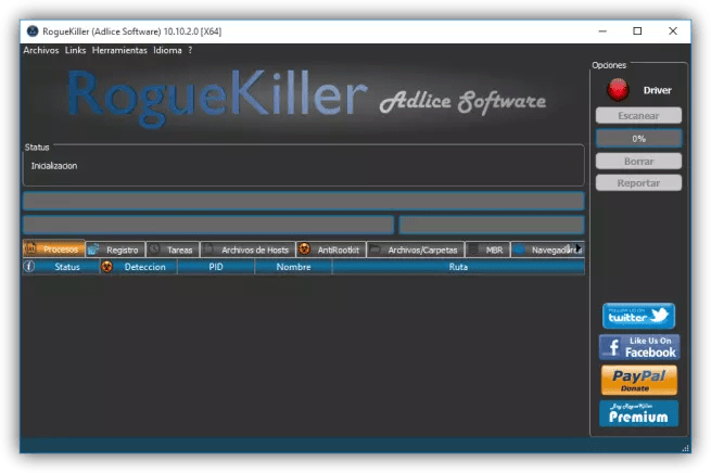 Ventana principal de RogueKiller