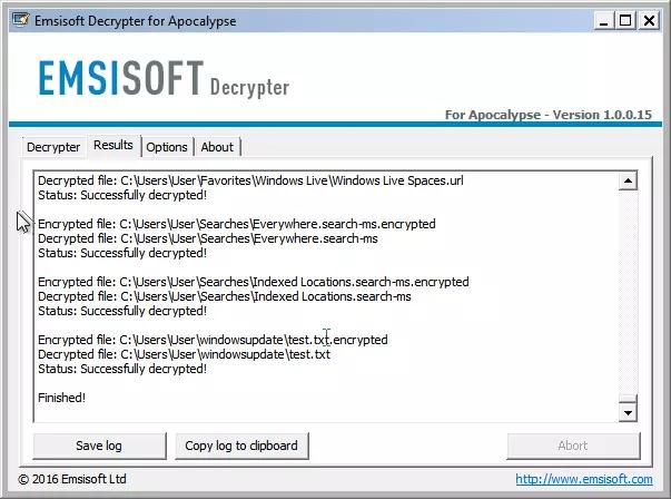 Ransomware Apocalypse - Archivos descifrados