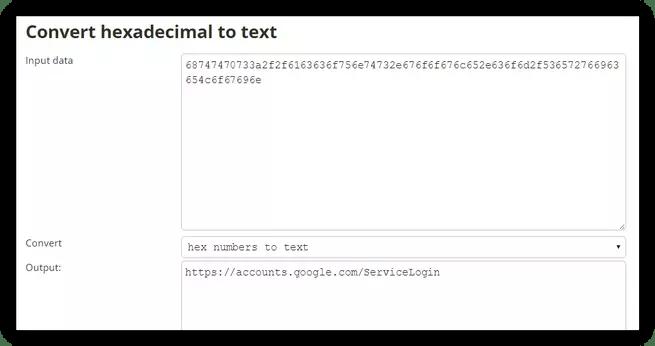 Texto hexadecimal convertido