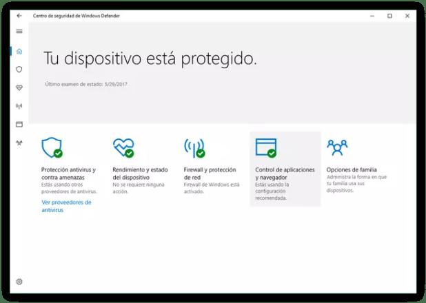 Centro de seguridad Windows 10 Windows Defender