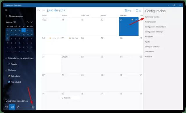 Configuración calendario Windows 10