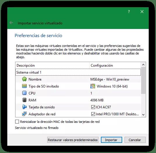 Importar máquina virtual Windows - Elegir hardware