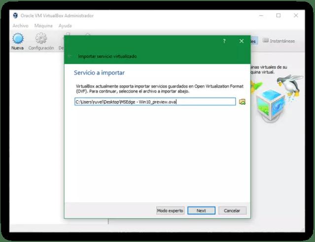 Importar máquina virtual Windows VirtualBox