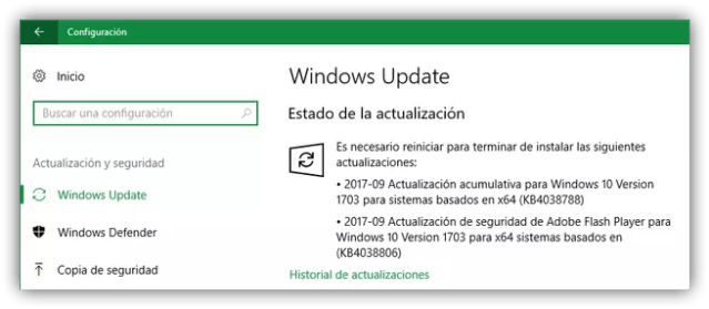 Actualización Flash Player Windows Update Windows 10