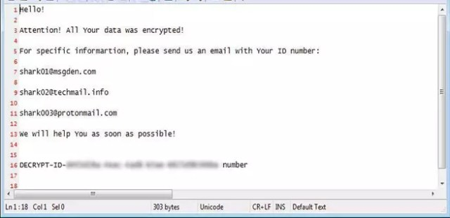 Nota de rescate de la variación de ransomware Shark