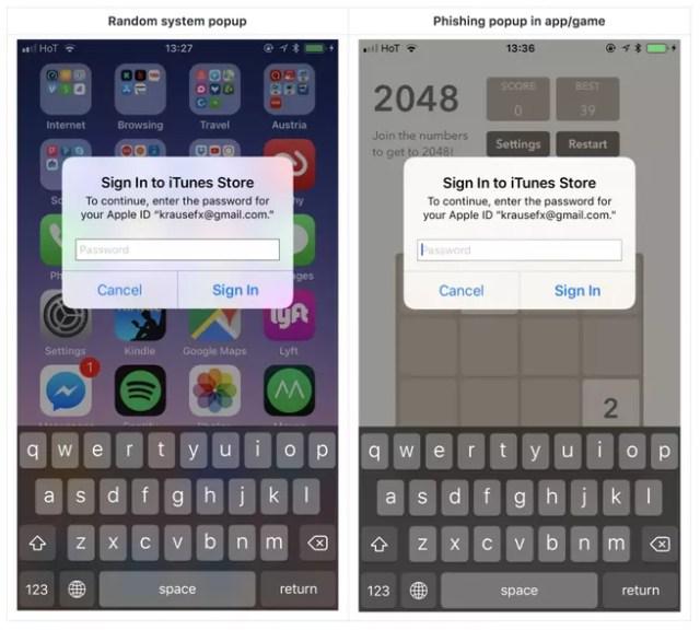 Falsa ventana contraseña iOS