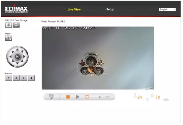 Edimax menú de configuración web pantalla principal