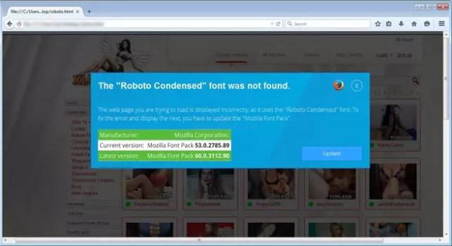 roboto fuente de texto falsa para instalar malware en Windows