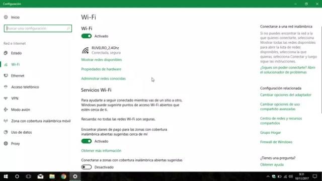 Administrar redes Wi-Fi Windows 10