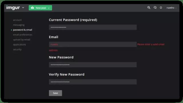 Cambiar password Imgur