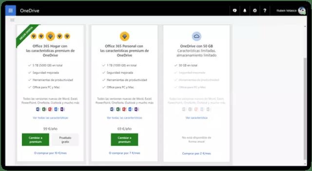 Espacio almacenaje OneDrive