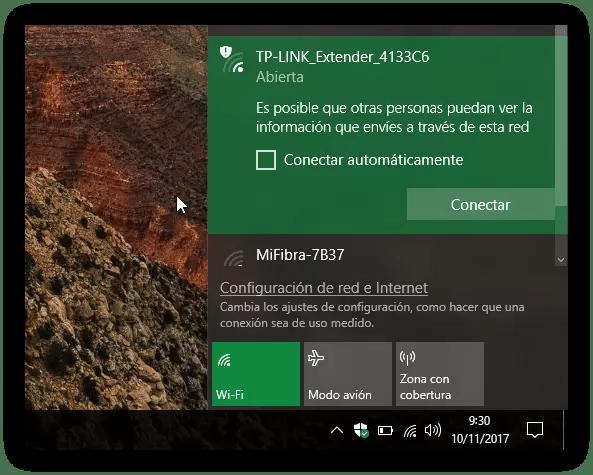 Red Wi-Fi Abierta Windows 10