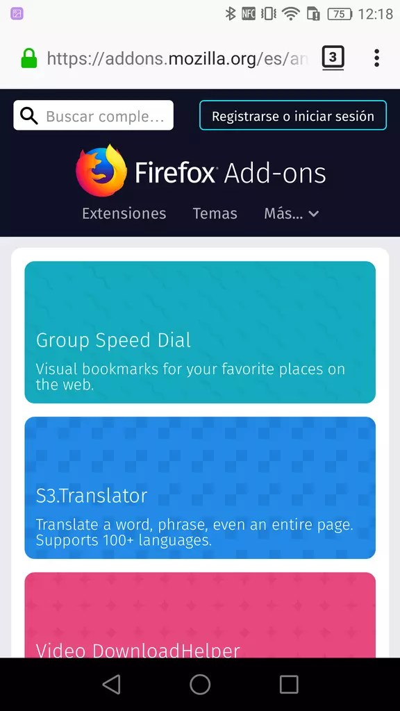 Mozilla Add-ons ©Firefox Android