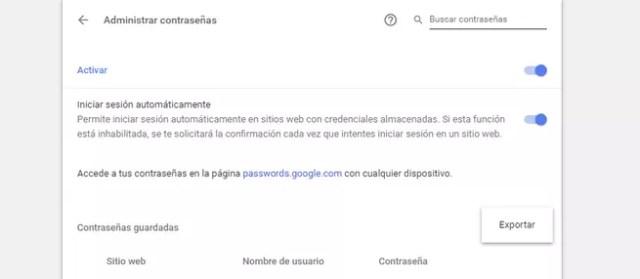 Exportar CSV contraseñas Chrome