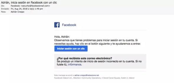 Facebook problemas inicio de sesión correo estafa