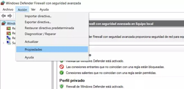 Propiedades de ©Windows Defender Firewall