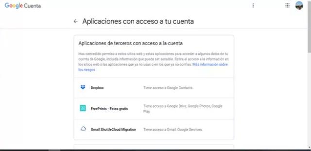 Aplicaciones de terceros con entrada a Google