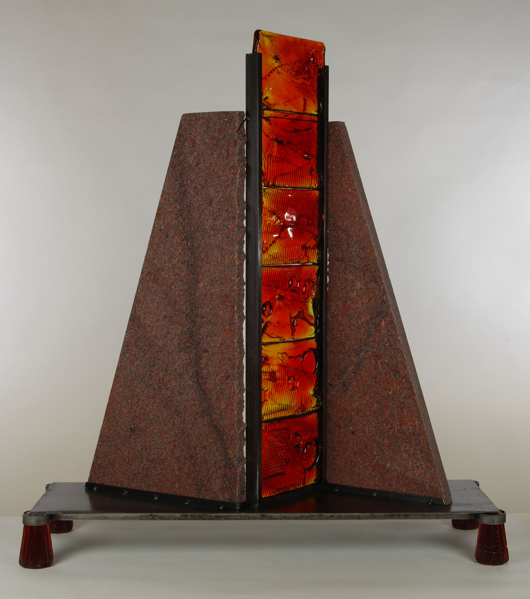 Contemporary Glass Metal And Stone Sculpture Made In