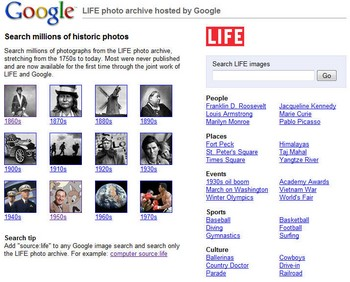 googlelifearchive small Google Life Archives   classic photos available for all