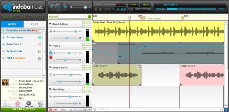 Indaba Music – browser based online music mixing and collaboration